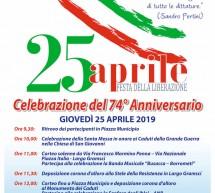 Il programma del 25 aprile, Festa della Liberazione.
