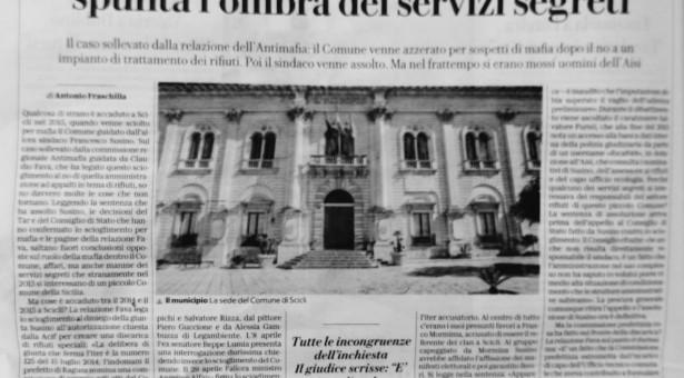 """La Repubblica """"Scicli, lo scioglimento su misura; con l'ombra dei servizi segreti""""."""