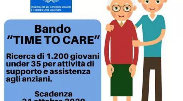 """""""Time to care"""": un bando per giovani tra i 18 e 35 anni che vogliono impegnarsi nell'assistenza agli anziani."""