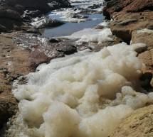 Schiuma inquinante sulla riviera rocciosa di Cava d'Aliga.